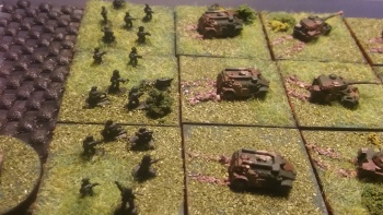 Cavalry Regt infantry element. Company in Panhard M3 with one platoon carrying Milan.