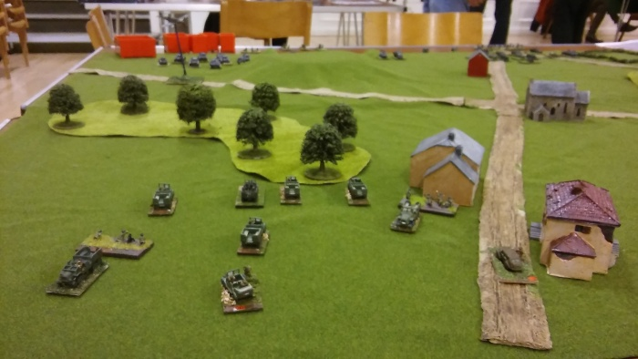 Infantry heads for the woods.