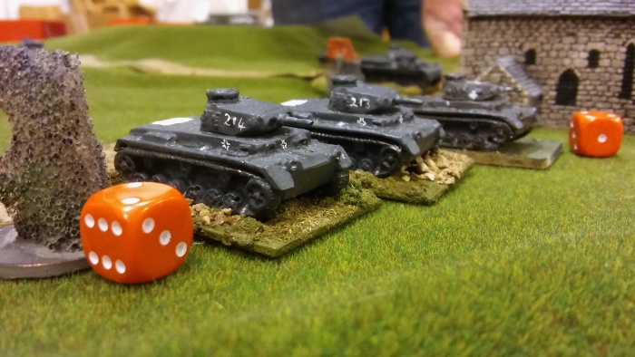 Panzers taking hits.