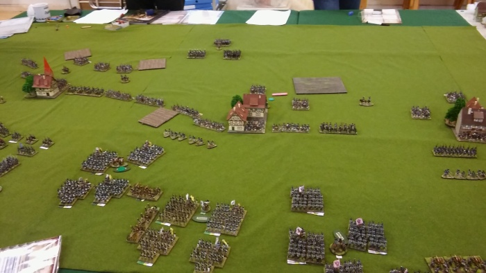 My attack starts but mine and Del's hesitant brigades on the right of the picture throw things off balance somewhat.