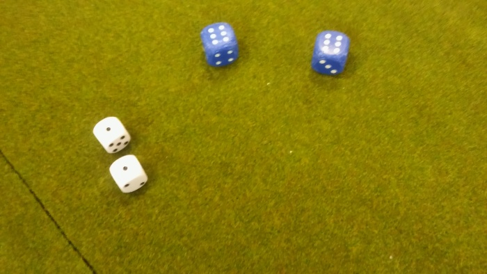 French dice blue, Austrian dice white. Bugger.