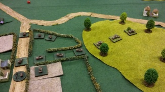 One company of Scorpions is forced back a bit whilst the tank and infantry companies move into position.