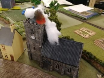 Church burns after barrage