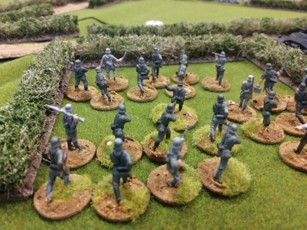My infantry platoon of Matchbox and Airfix figures come under fire.